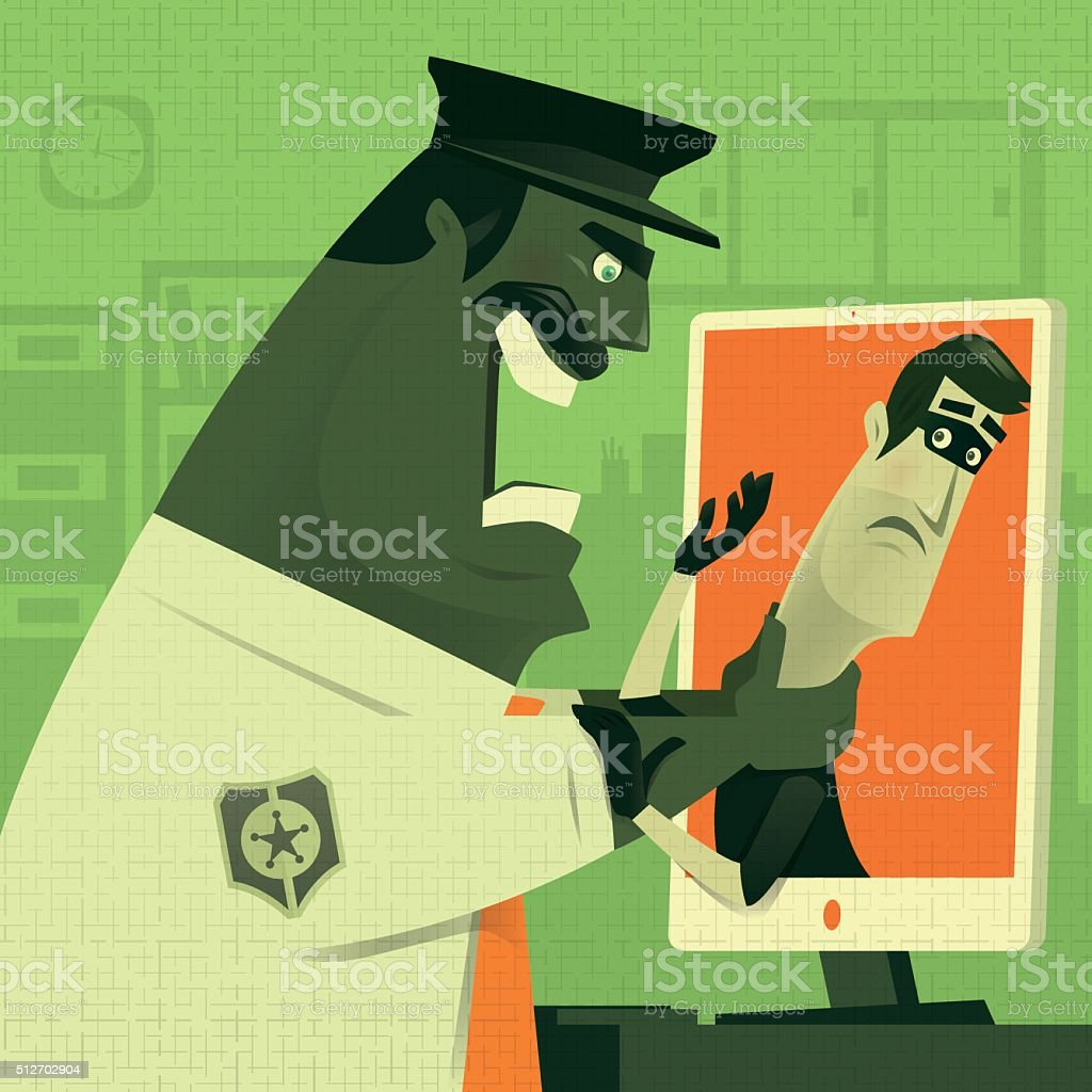 cyber security vector art illustration