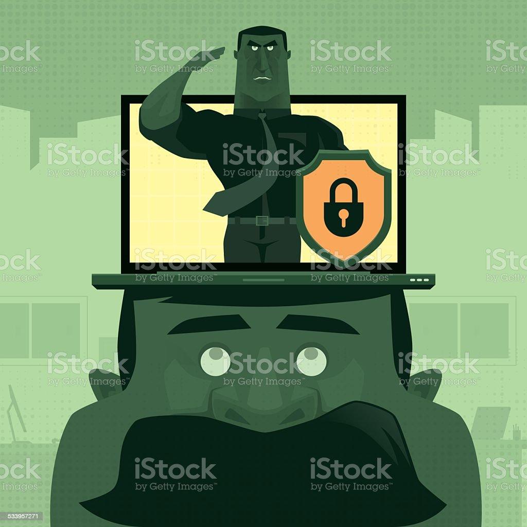 cyber security vector art illustration