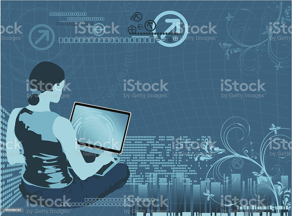 Cyber Surfing royalty-free stock vector art