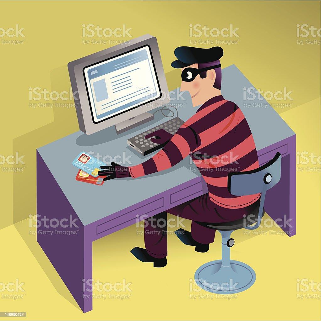 Cyber Theft vector art illustration