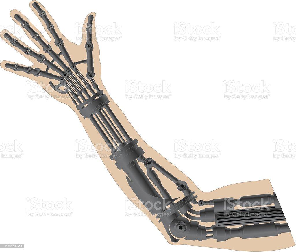 cybernetic arm vector art illustration
