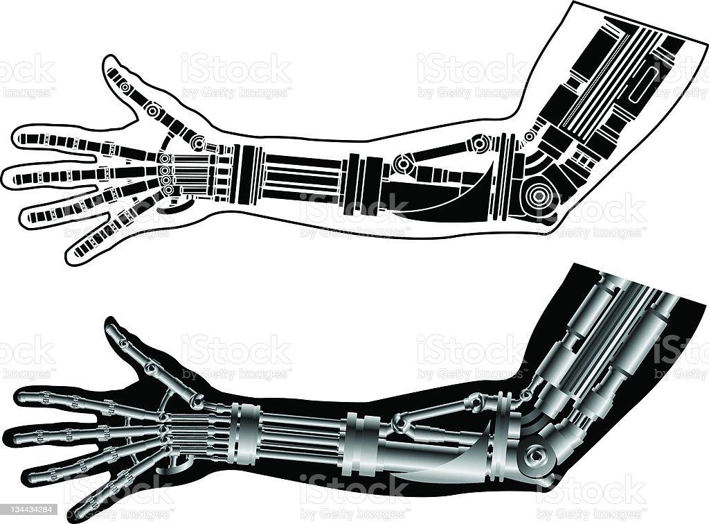 cybernetic hands vector art illustration