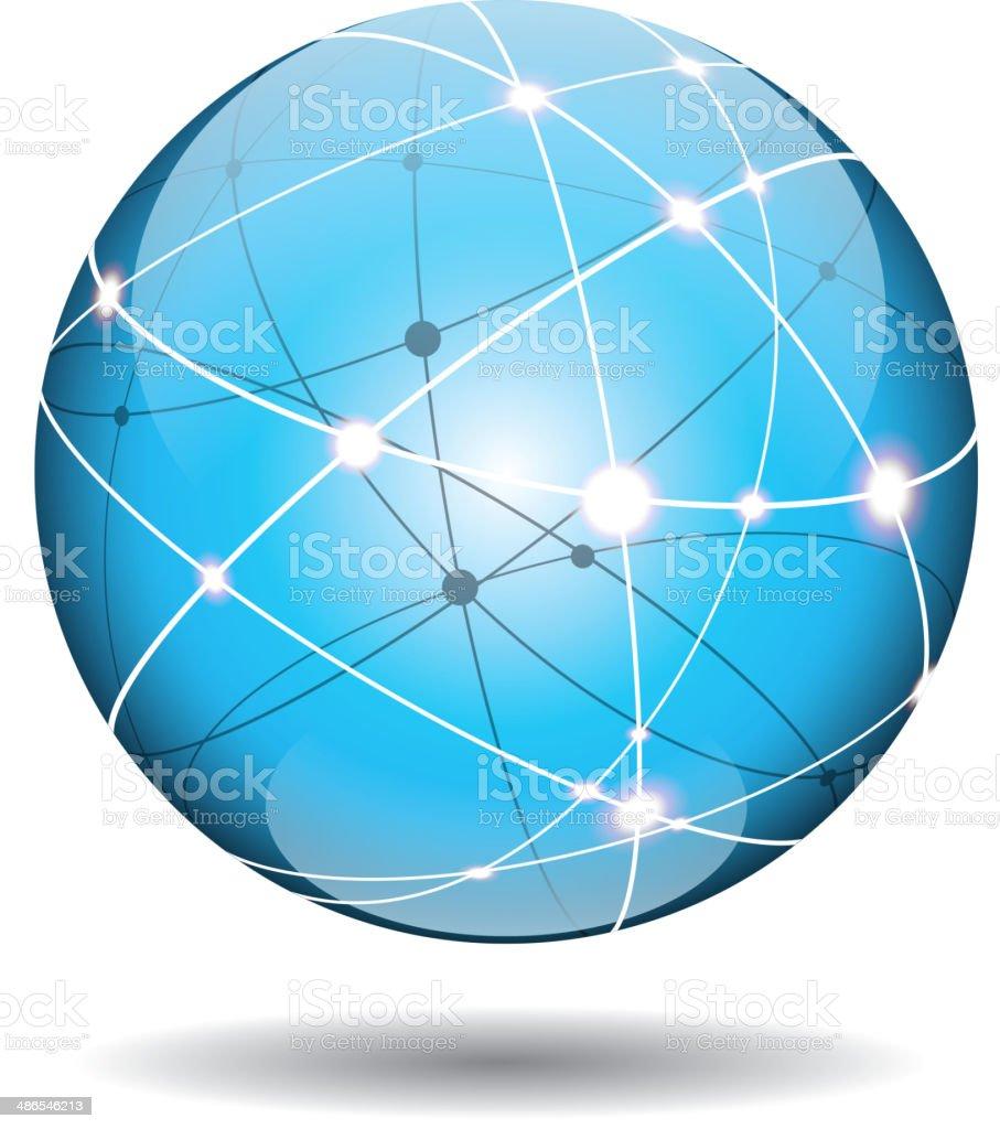 Cyberspace ball vector art illustration