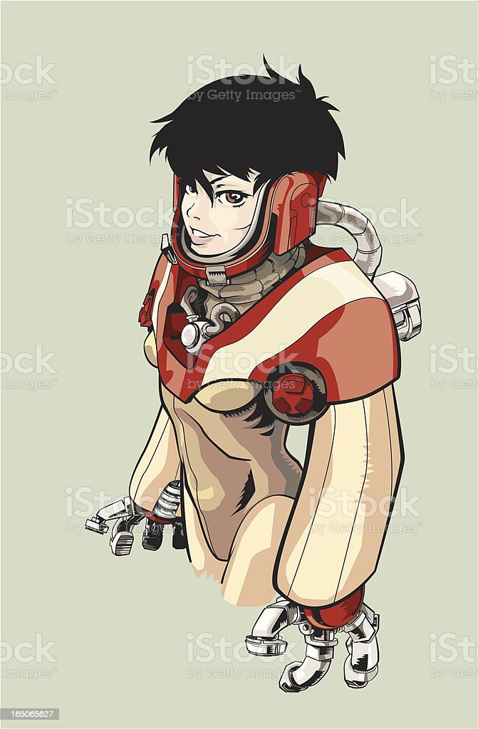 Cyborg Space Girl royalty-free stock vector art