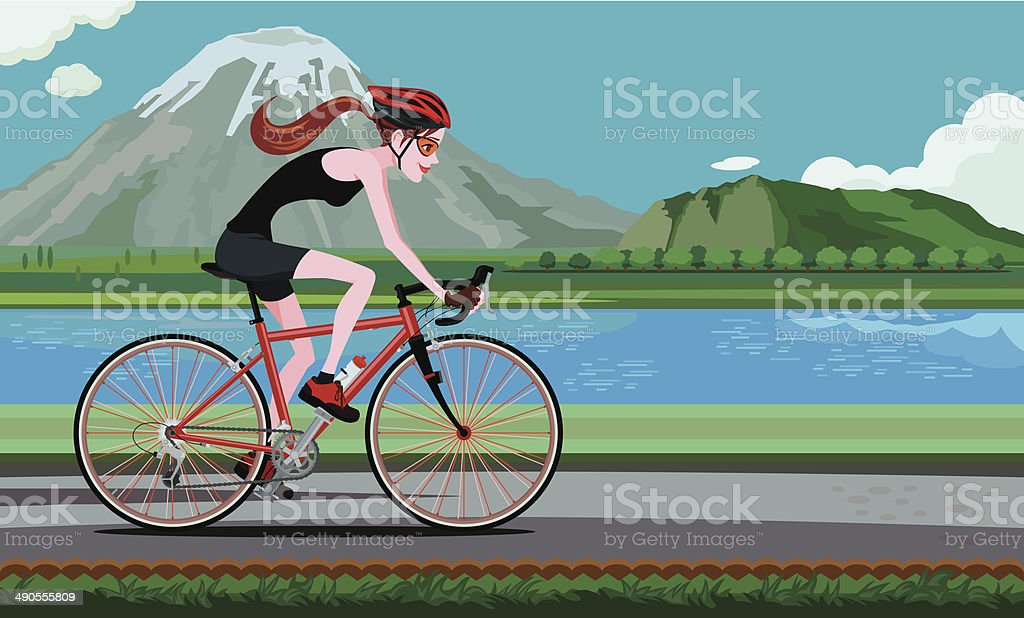 Cycle Along the Riverside royalty-free stock vector art