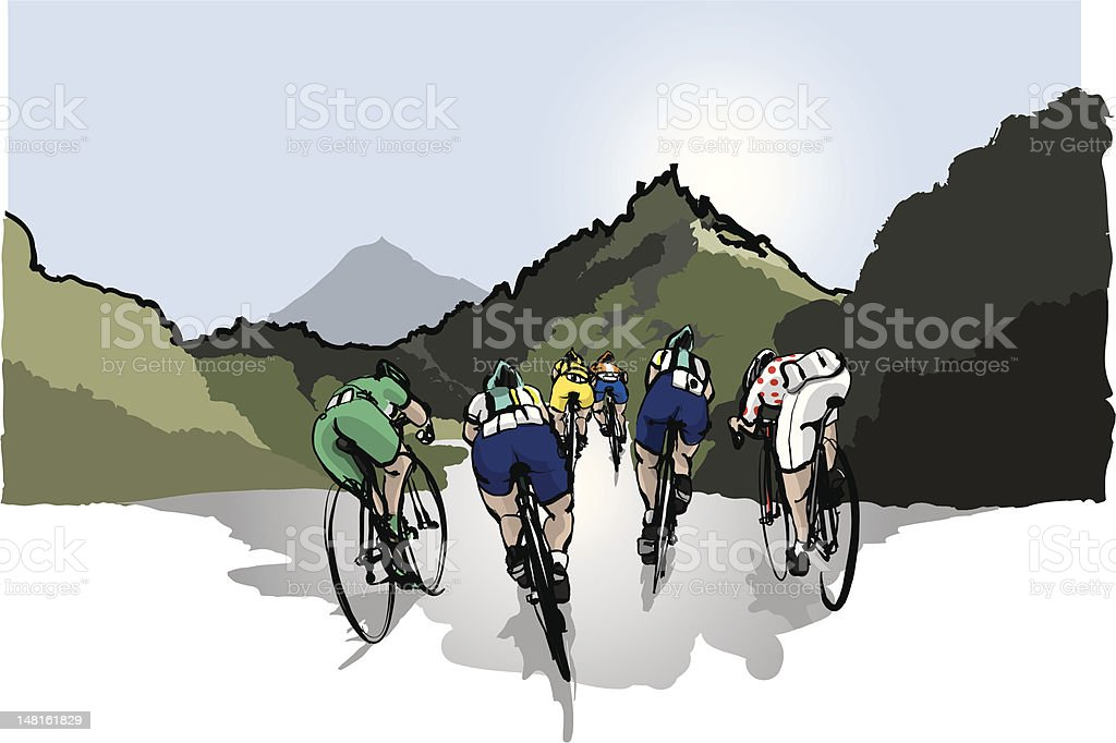 cycle racing vector art illustration