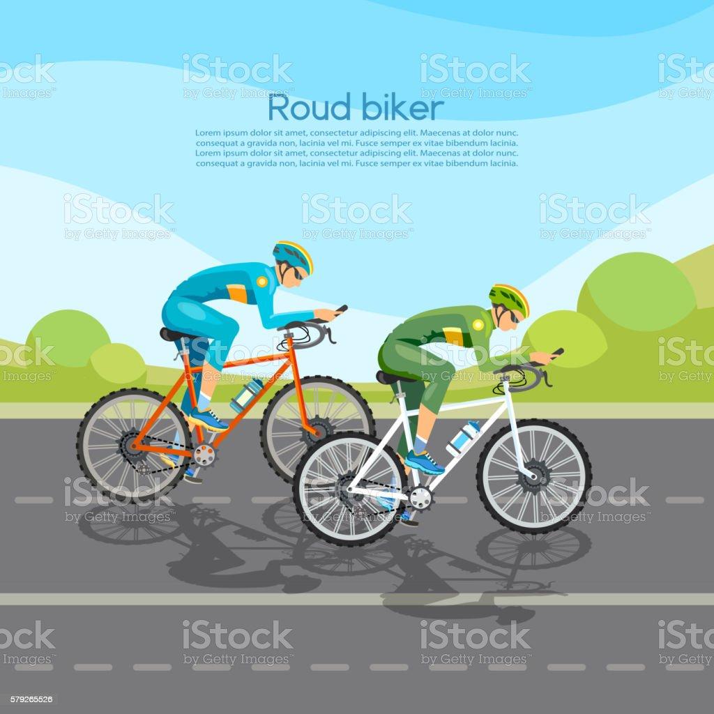 Cycle racing vector art illustration