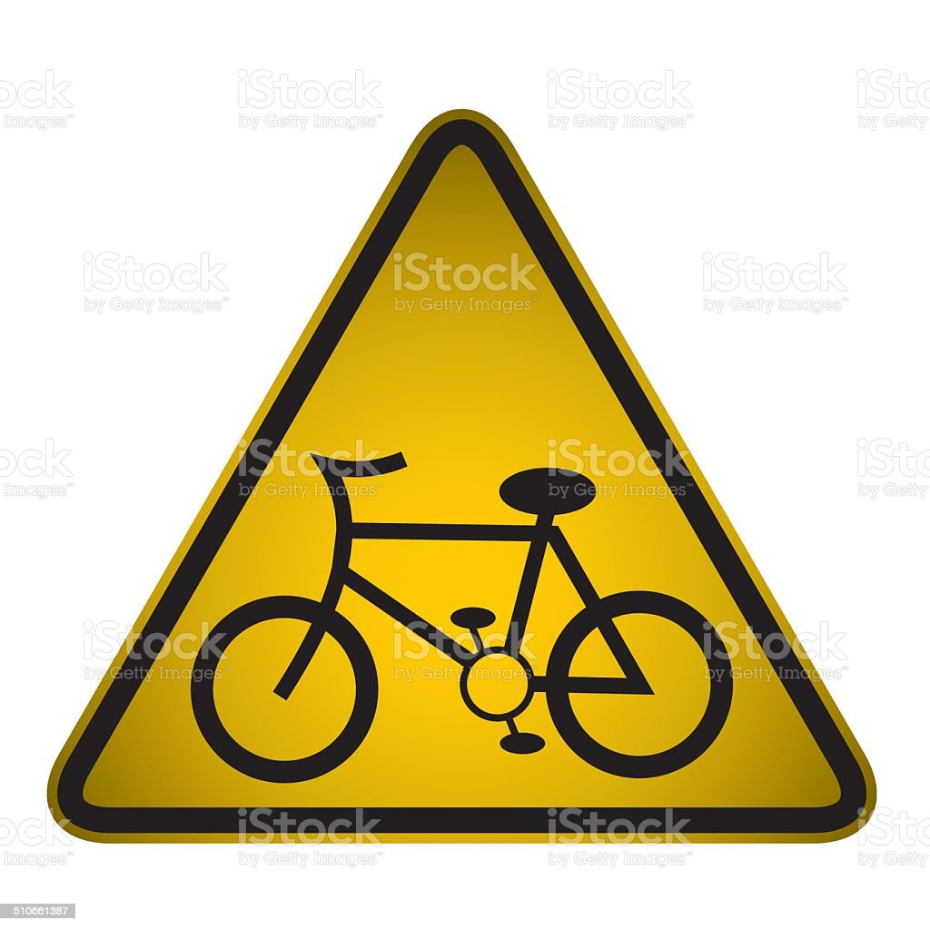 Cycle Route Ahead Sign- Vector vector art illustration