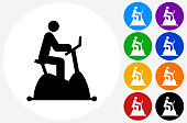Cycle Workout Icon on Flat Color Circle Buttons