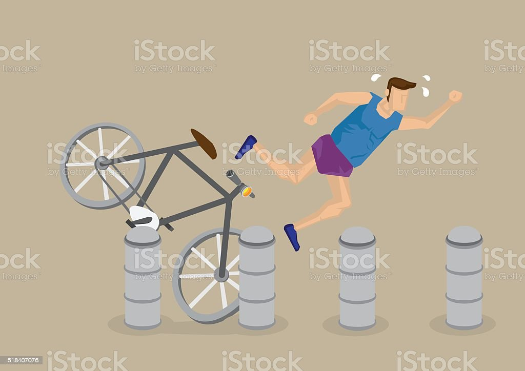 Cycling Accident Cartoon Vector Illustration vector art illustration