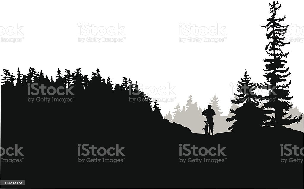Cycling Alone Vector Silhouette vector art illustration