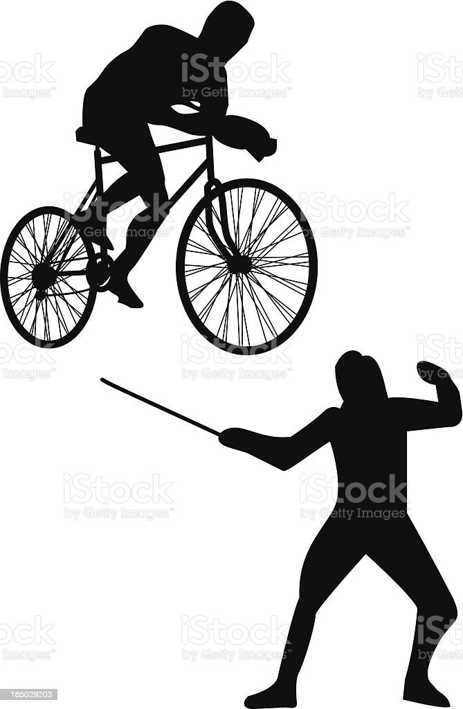 Cycling and fencing royalty-free stock vector art