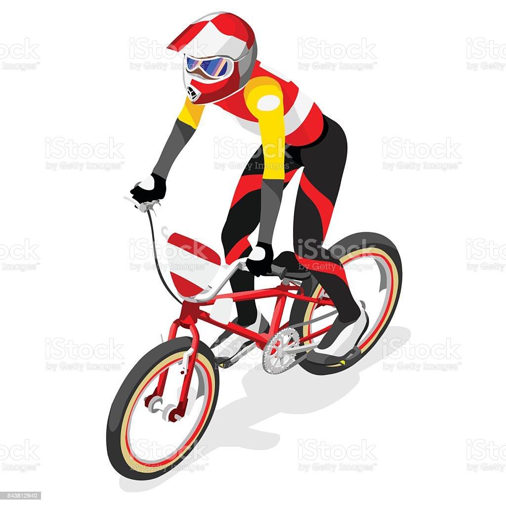 Cycling BMX  Sports 3D Isometric Vector Illustration vector art illustration