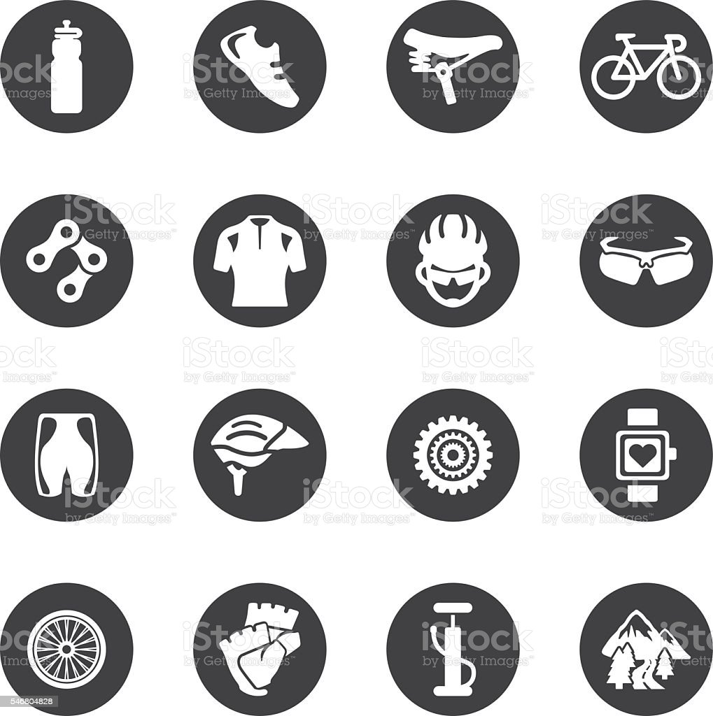 Cycling Circle Silhouette icons | EPS10 vector art illustration