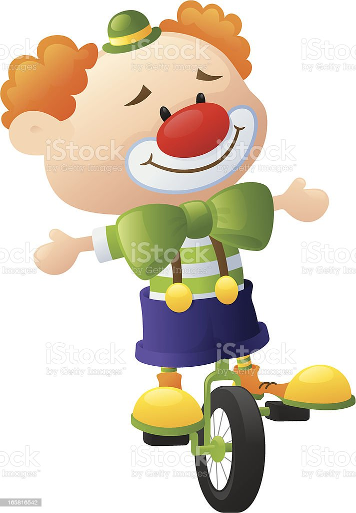 Cycling Clown royalty-free stock vector art