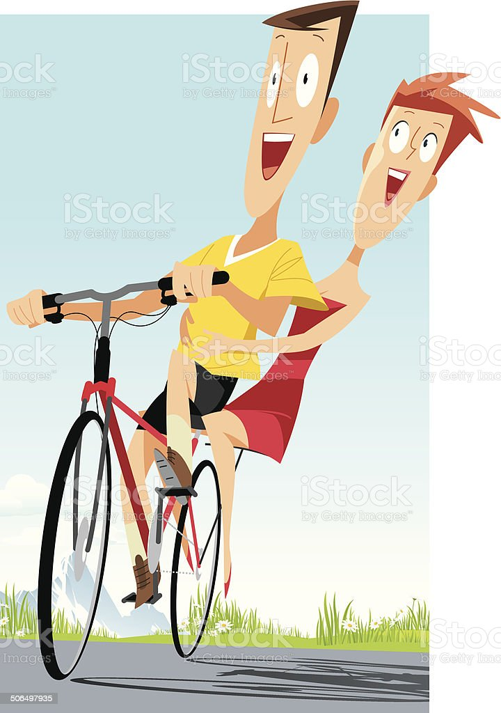 Cycling couple royalty-free stock vector art