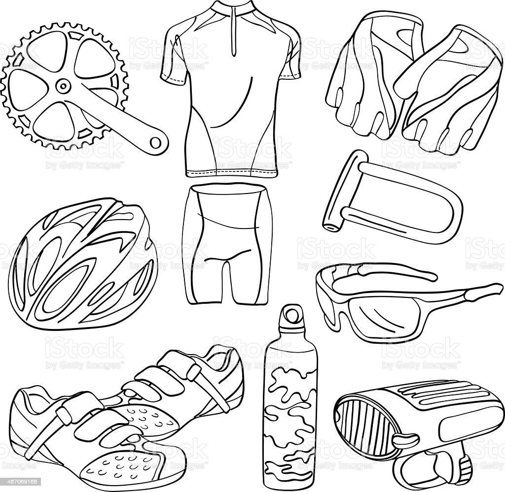 Cycling Equipment vector art illustration