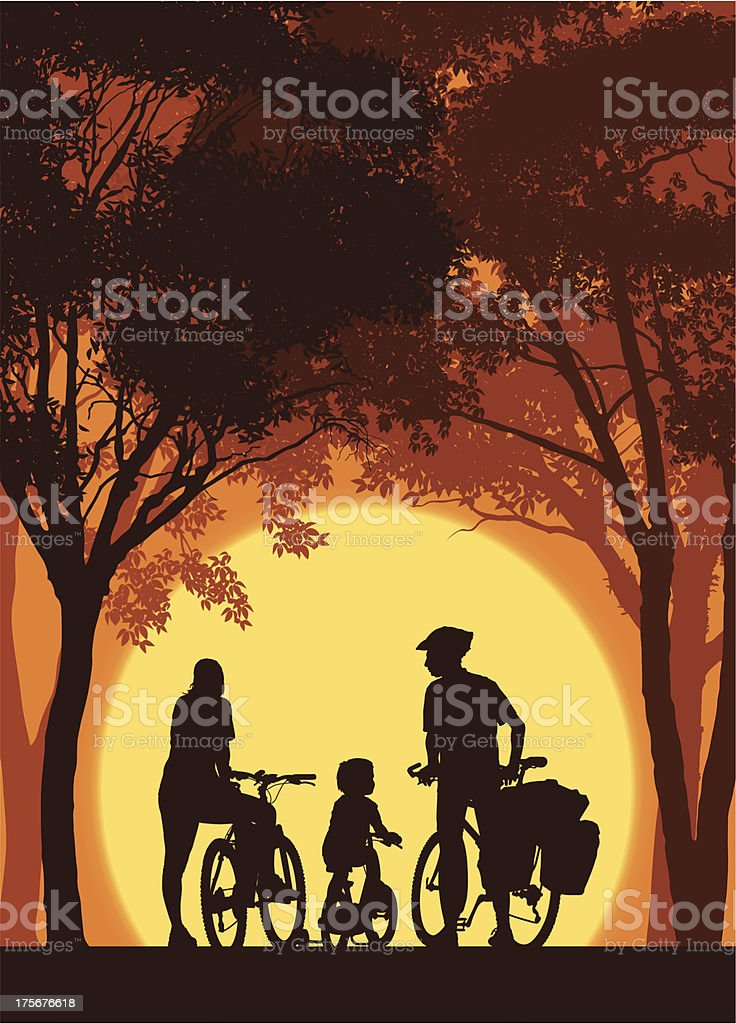 Cycling family royalty-free stock vector art