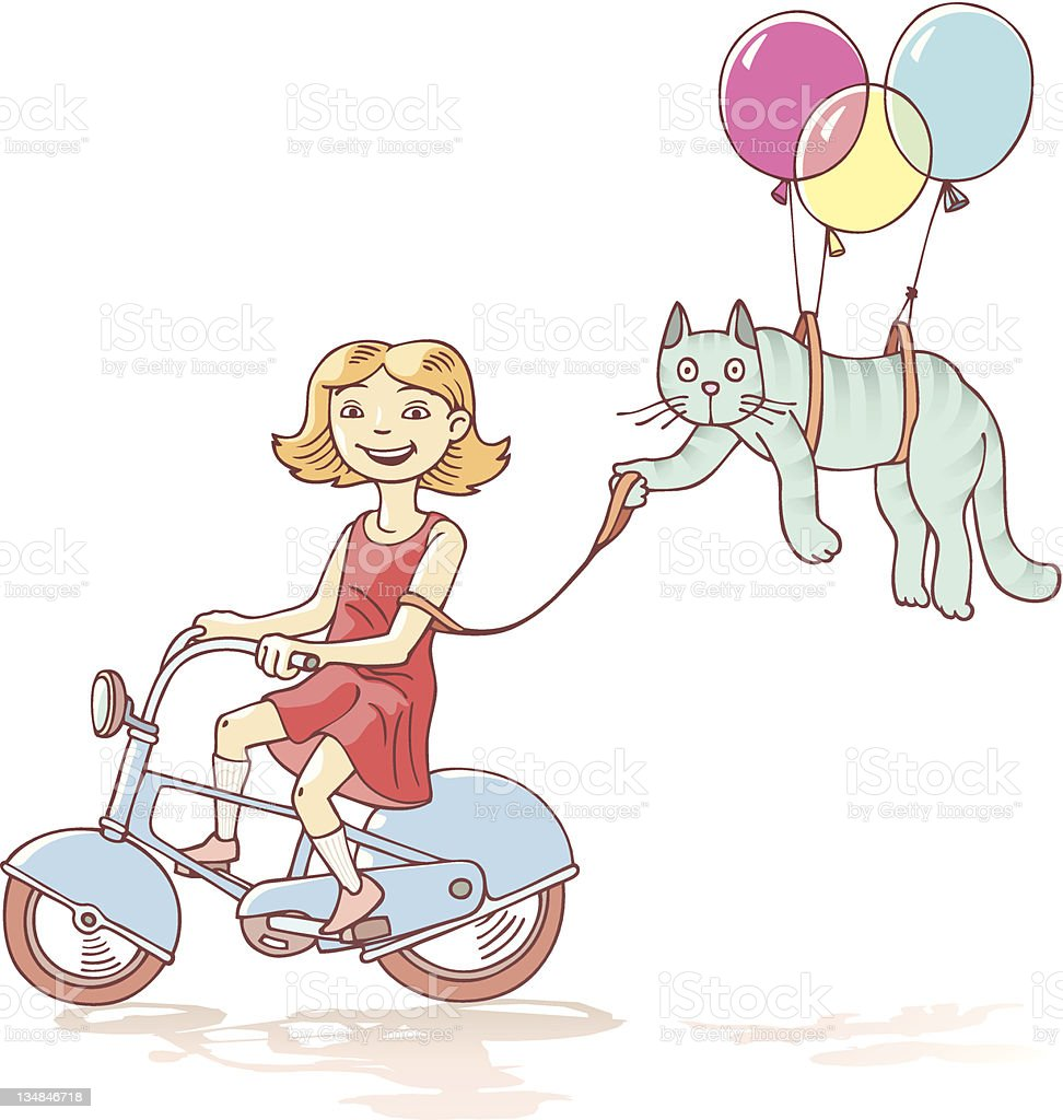 Cycling girl with the cat royalty-free stock vector art