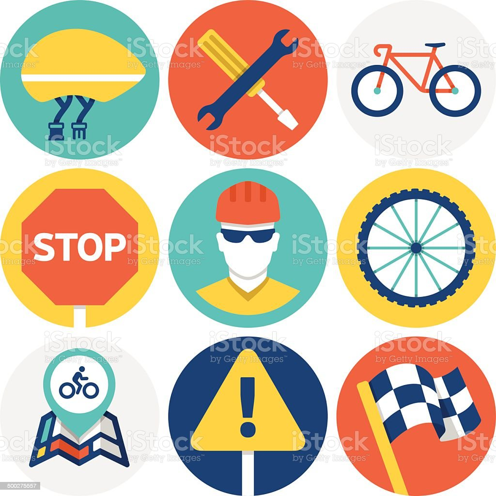 Cycling Icons and Symbols vector art illustration