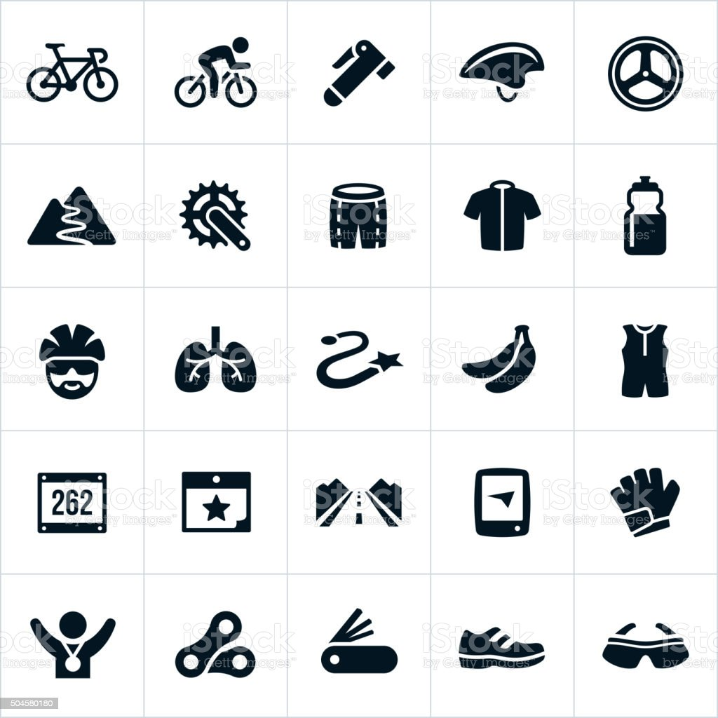 Cycling Icons vector art illustration