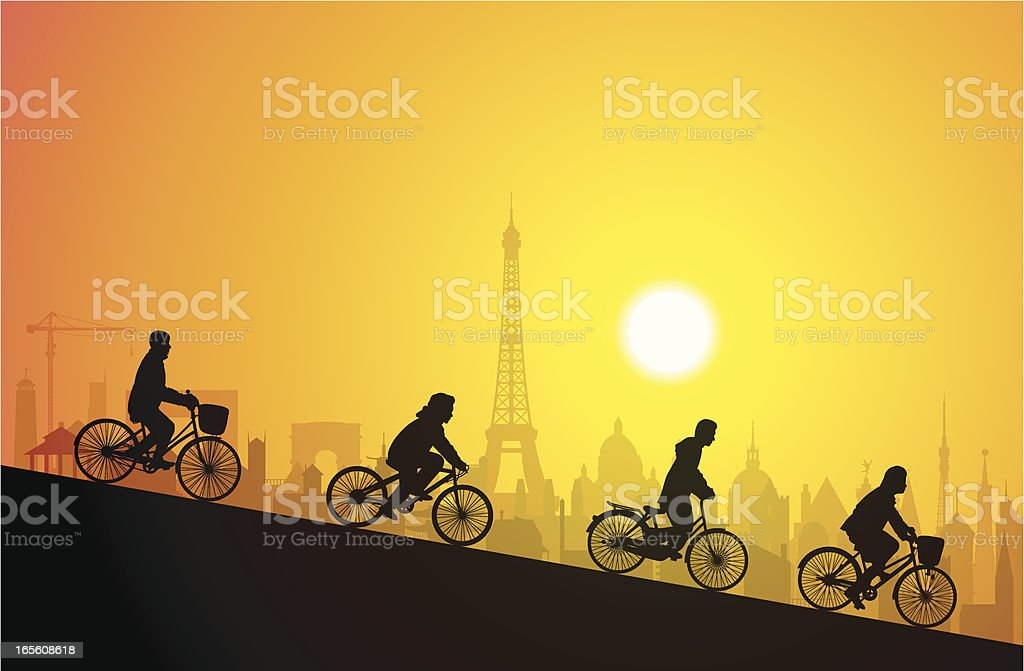 Cycling in Paris royalty-free stock vector art