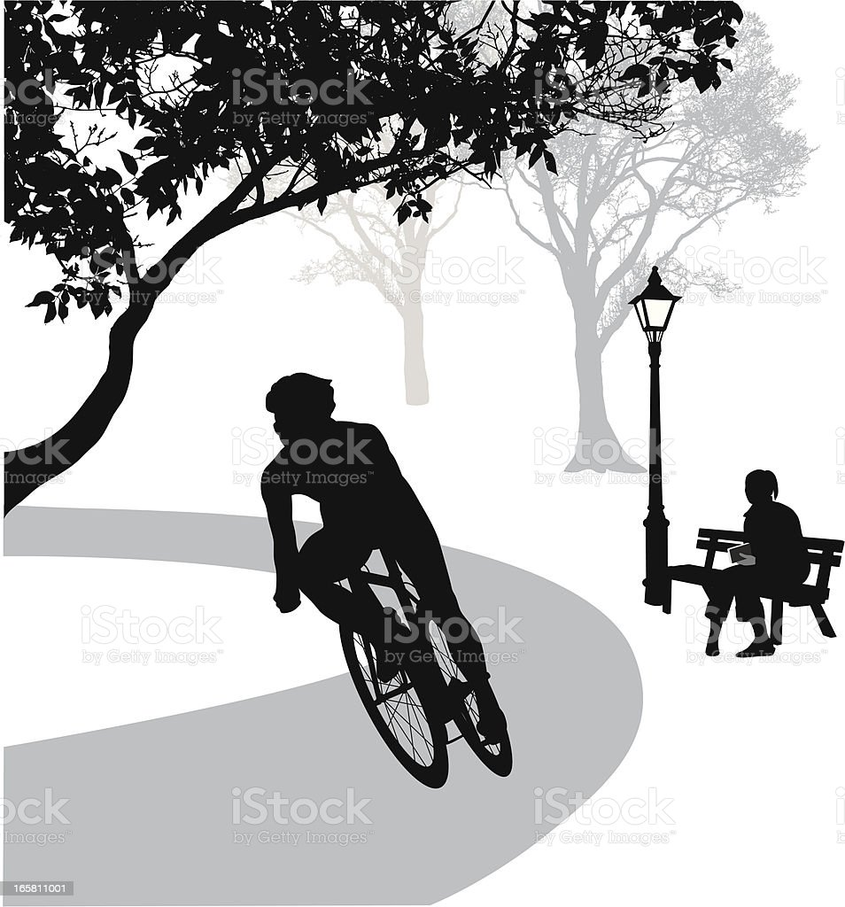 Cycling Path Vector Silhouette vector art illustration