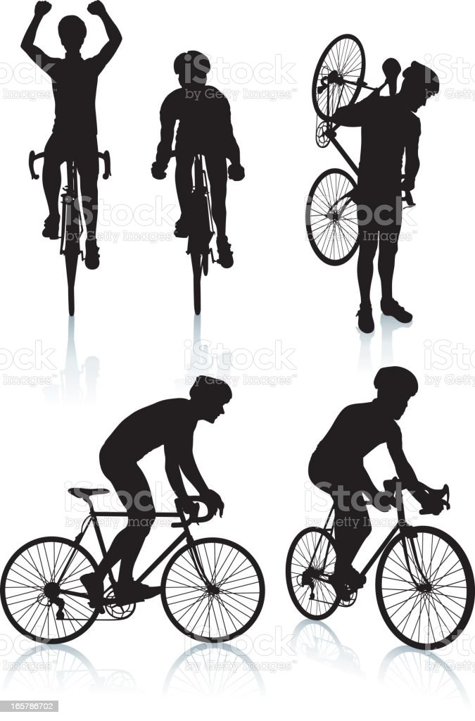 Cycling Silhouettes 2 vector art illustration