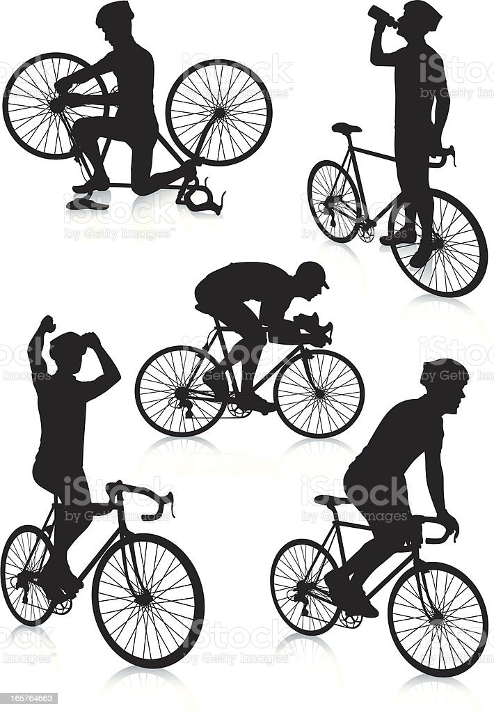 Cycling Silhouettes 3 royalty-free stock vector art