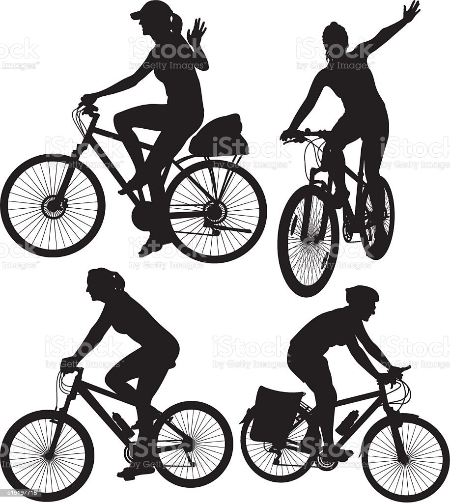 cycling silhouettes vector art illustration
