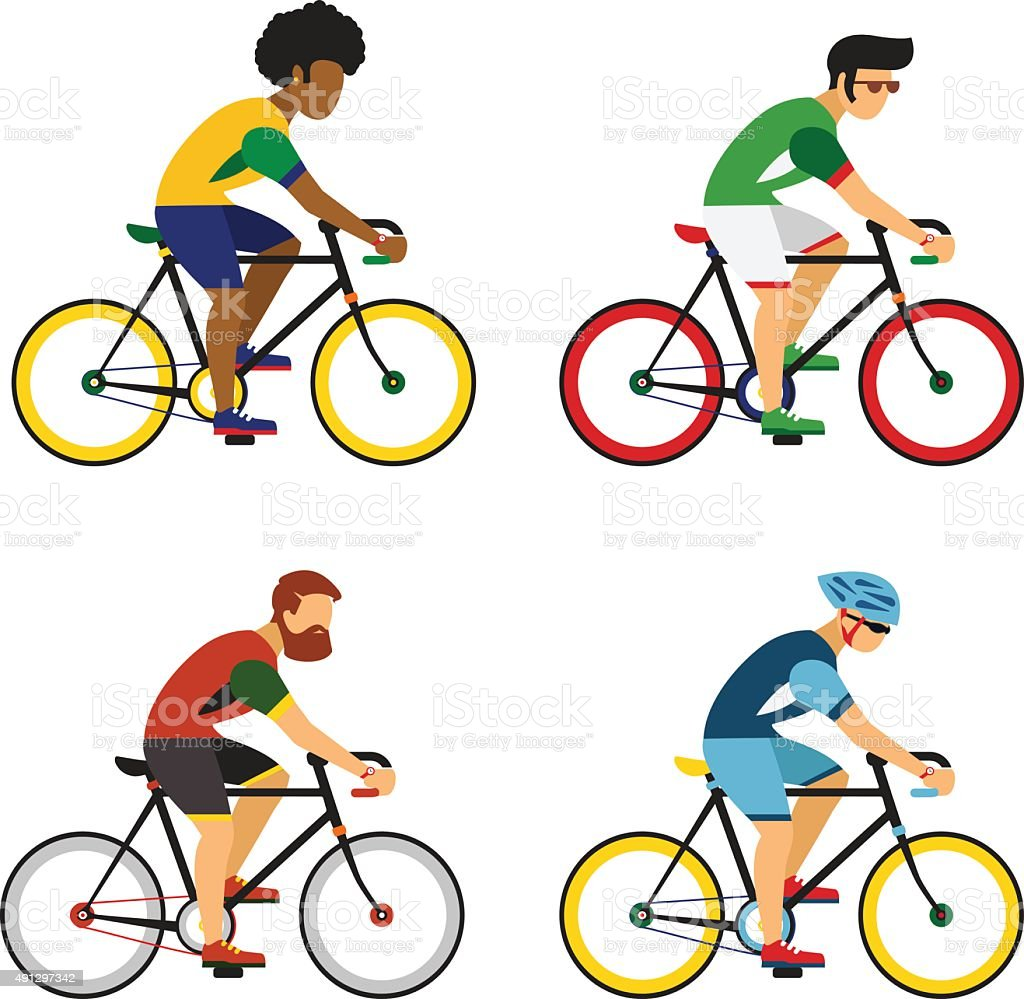 Cycling sport bicycle men icons set, road bike riders vector art illustration