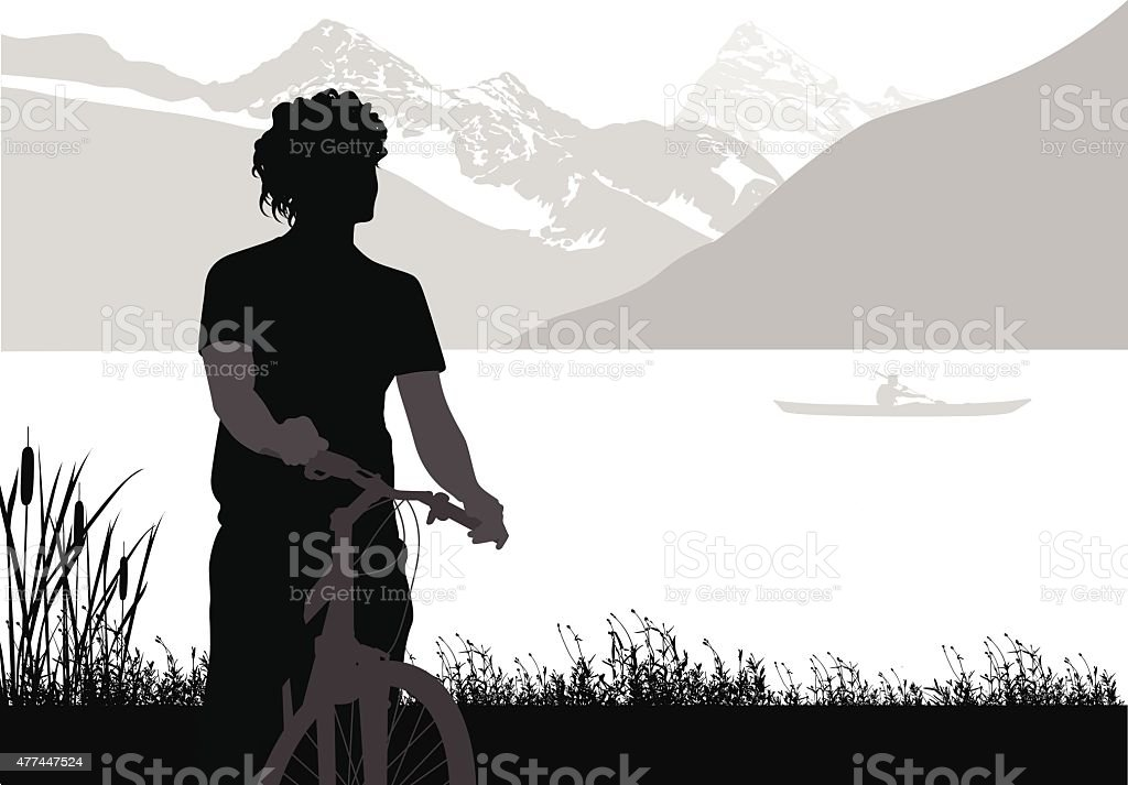 Cycling The Rockies vector art illustration