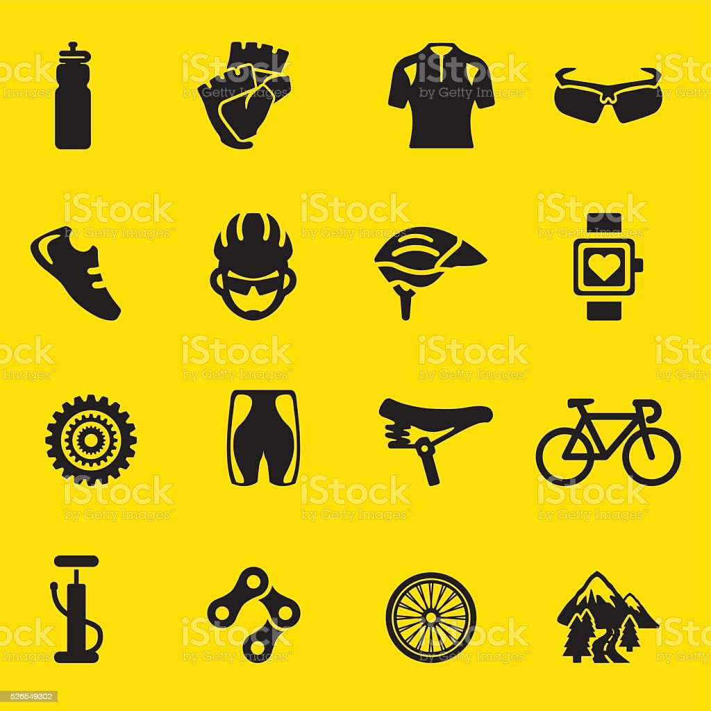Cycling yellow Silhouette icons   EPS10 vector art illustration
