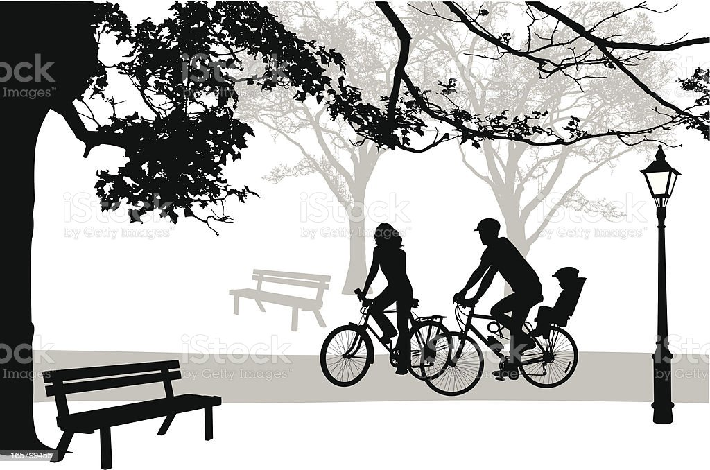 Cycling'n Park Vector Silhouette vector art illustration