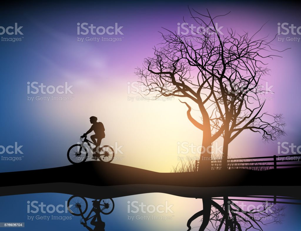 Cyclist in the park vector art illustration
