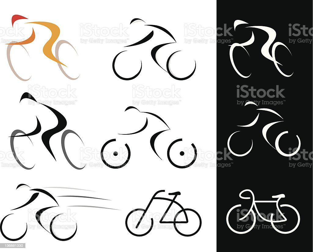 Cyclist - isolated vector icons vector art illustration