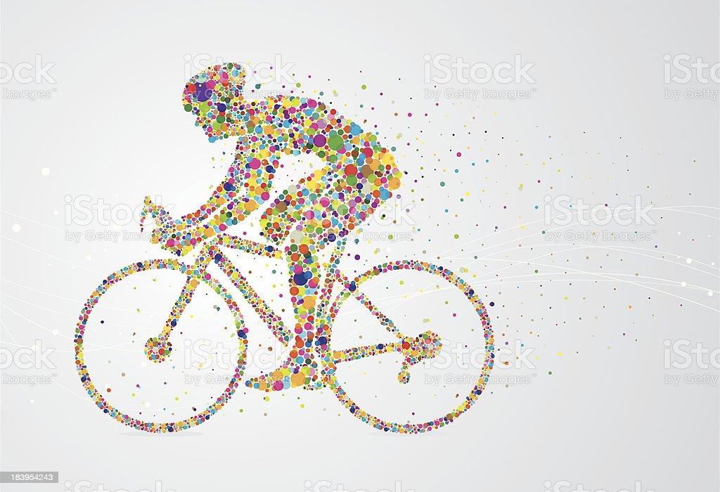 Cyclist pixel man vector art illustration