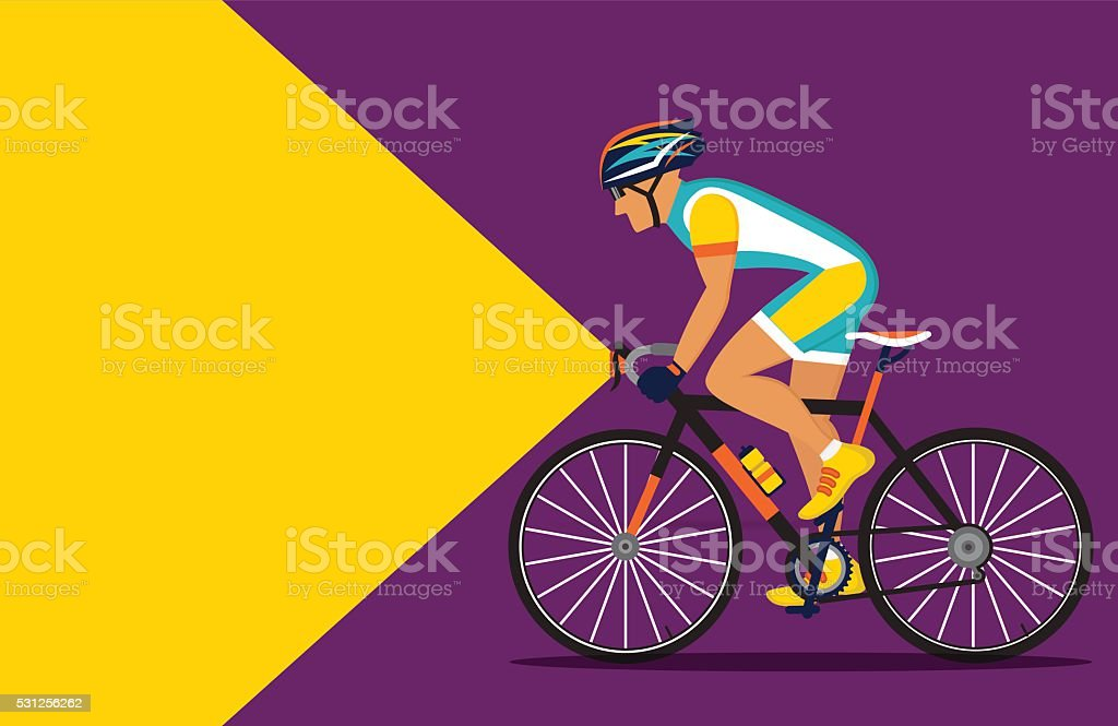 cyclist riding at night with a flashlight on vector art illustration