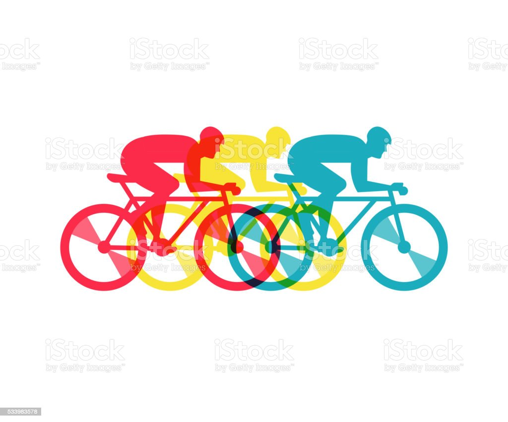 cyclist riding on bicycle, vector illustration and poster vector art illustration