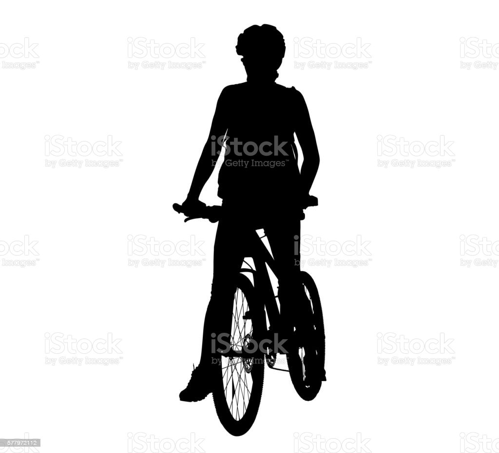 Cyclist woman sports vector vector art illustration