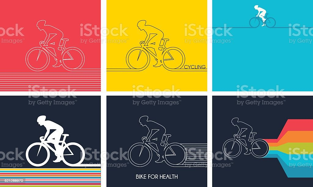Cyclists on bikes. set isolated d vector illustration vector art illustration
