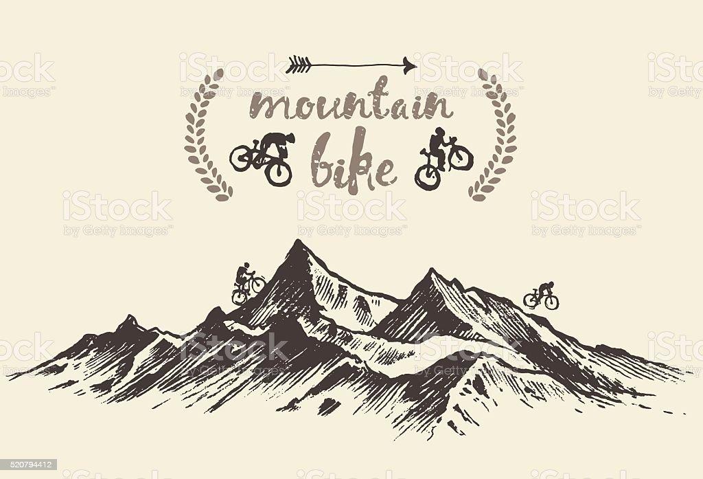 Cyclists riding mountain hand drawn bike vector vector art illustration