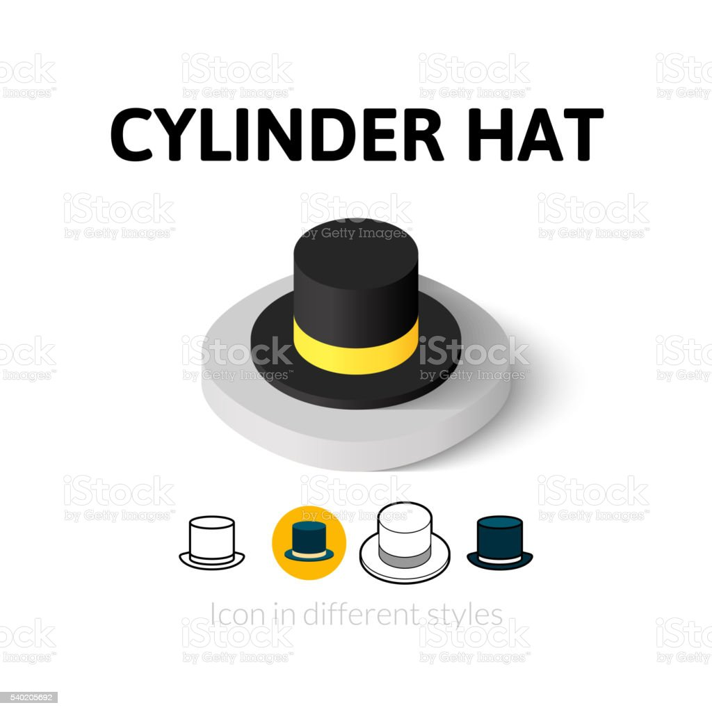 Cylinder hat icon in different style vector art illustration