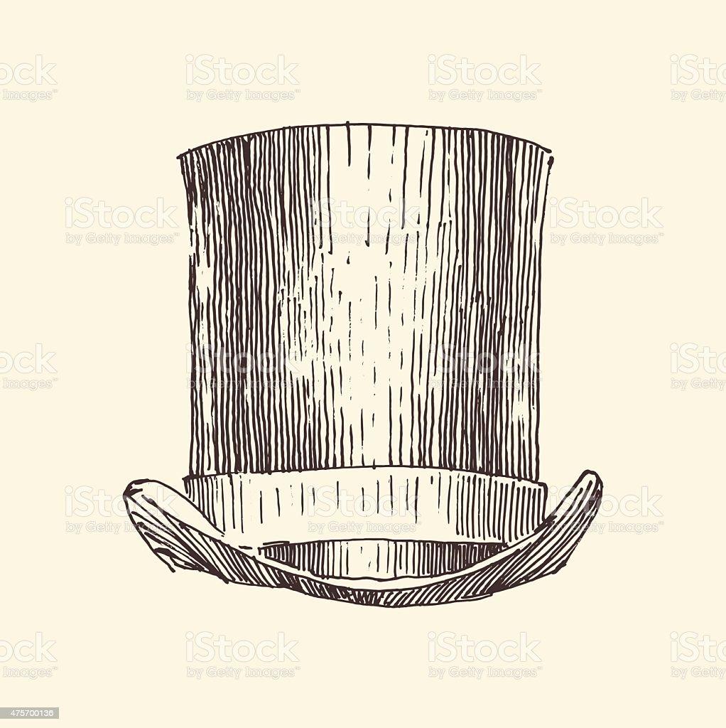cylinder hat, vintage engraved illustration, hand drawn vector art illustration
