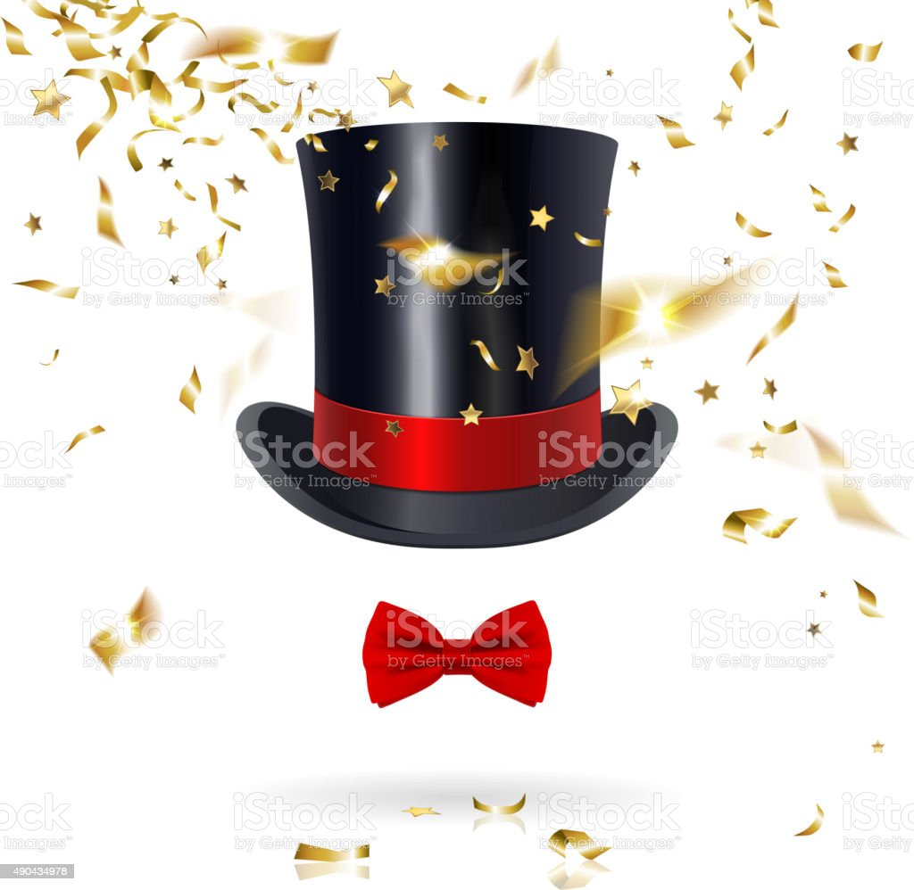 Cylinder Hat with Bow Tie and Confetti vector art illustration