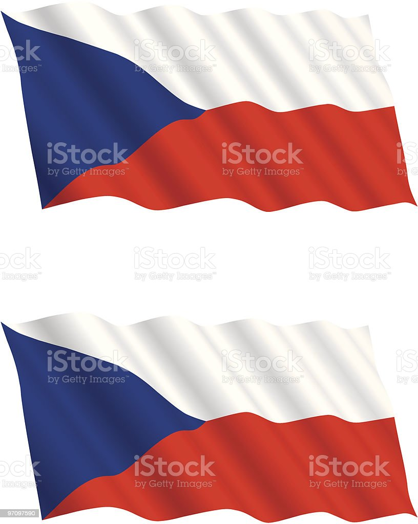 Czech Flag Flying in the Wind royalty-free stock vector art