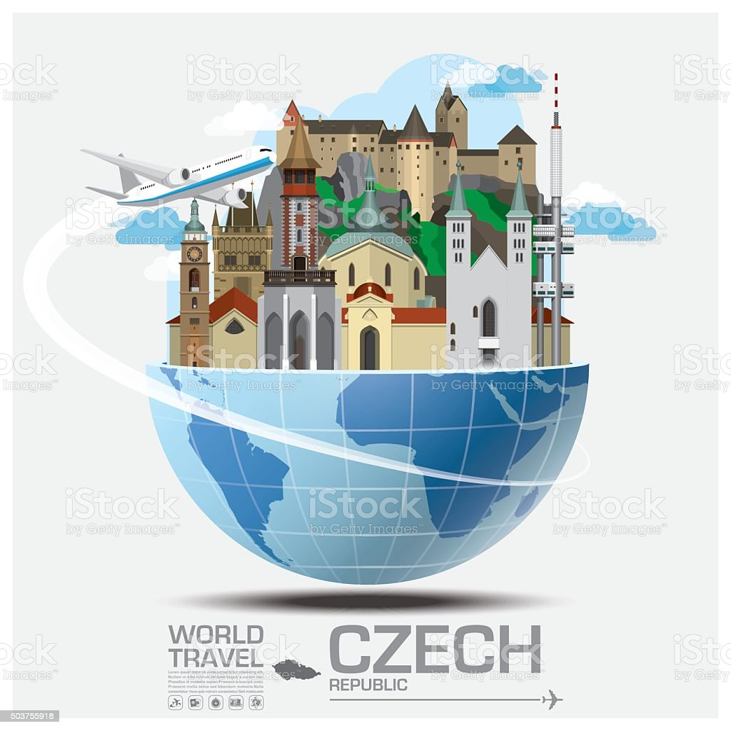 Czech Landmark Global Travel And Journey Infographic vector art illustration