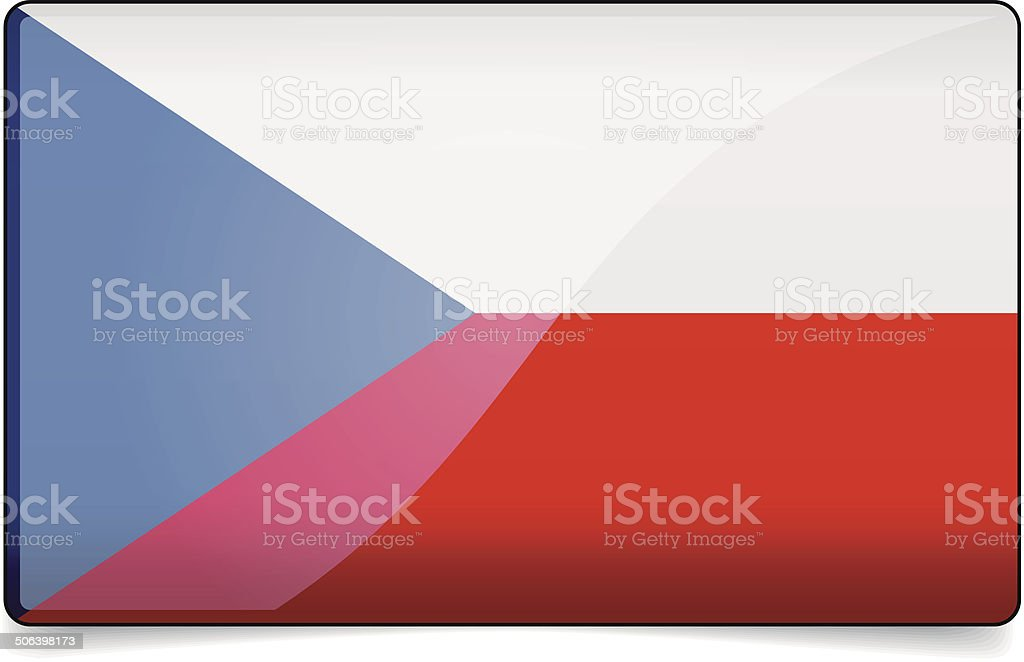 Czech republic flag button with reflection and shadow. Isolated vector art illustration