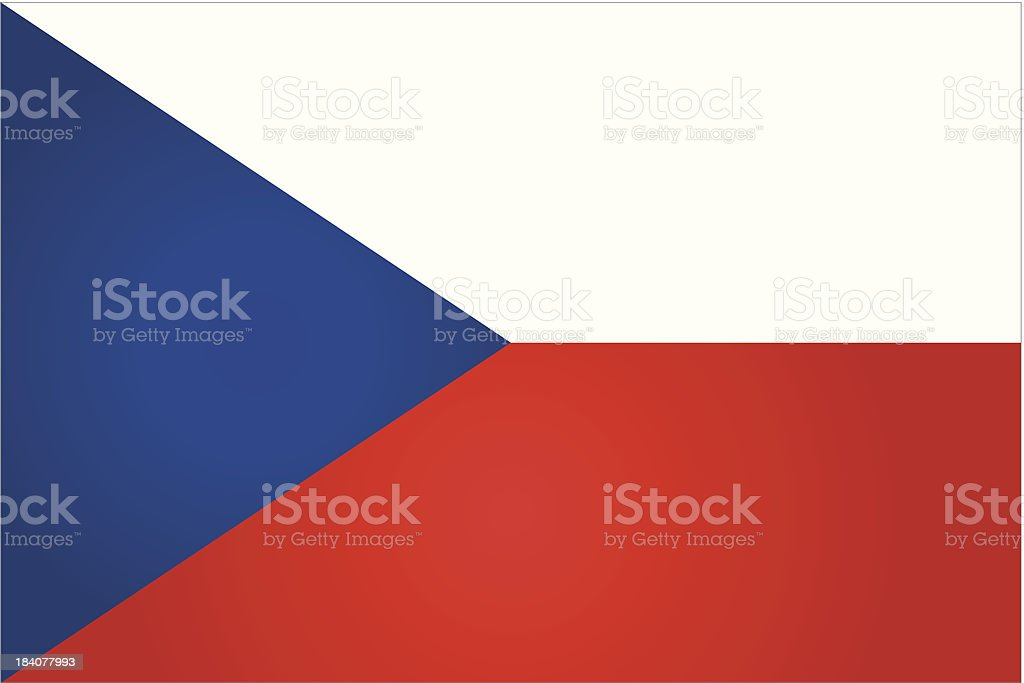 Czech Republic flag in red, white, and blue vector art illustration