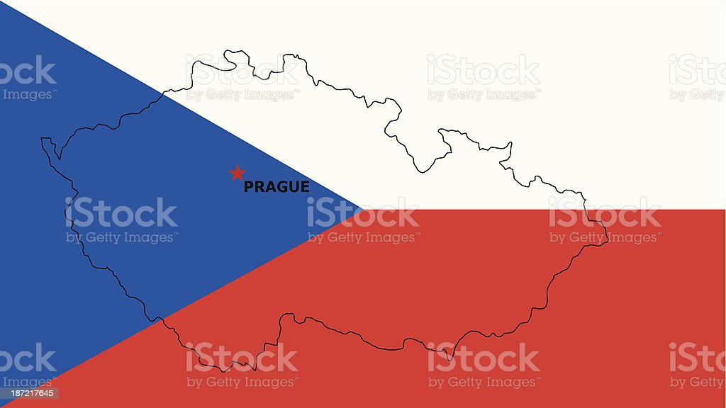 Czech Republic Flag  With A Map Of Country royalty-free stock vector art